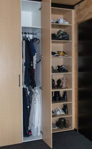 Custom made wardrobes with hanging and shelves